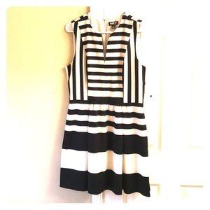 Allen B (JCP) black and cream striped dress